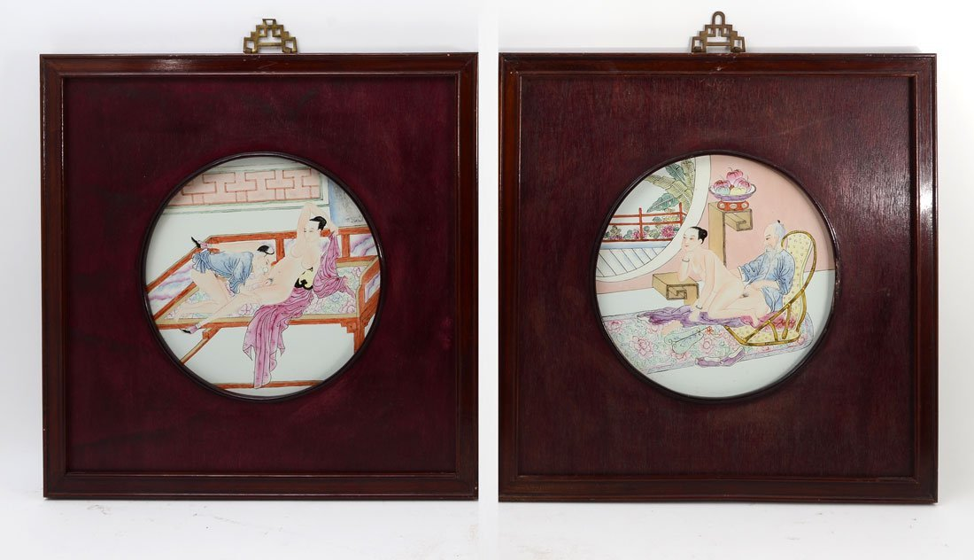 PAIR CHINESE EXPORT EROTIC PORCELAIN PLAQUES