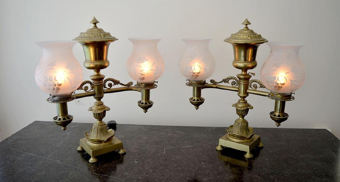 PR 19TH C ARGAND DOUBLE LIGHT LAMPS