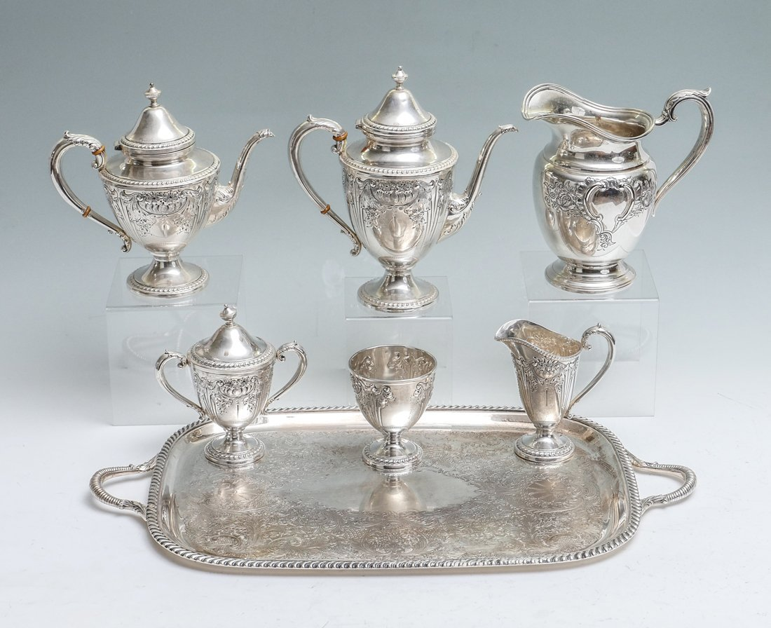 HAND CHASED FRANK WHITING STERLING TEA SERVICE