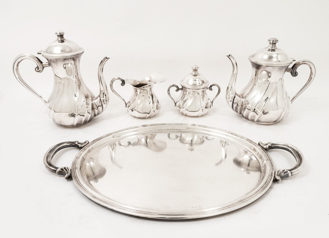 4 PIECE ITALIAN HAND MADE STERLING TEA SERVICE