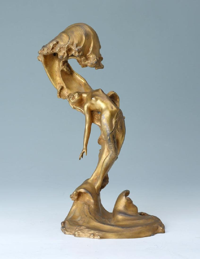 MAURICE BOUVAL BRONZE NUDE WITH WAVES LAMP BRONZE