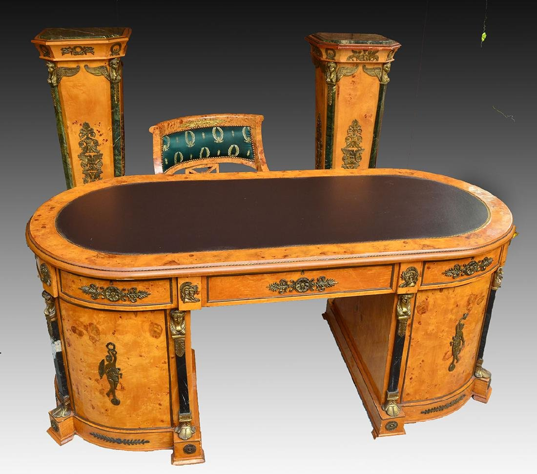 FRENCH EMPIRE STYLE OLIVE BURL DESK & PEDESTALS