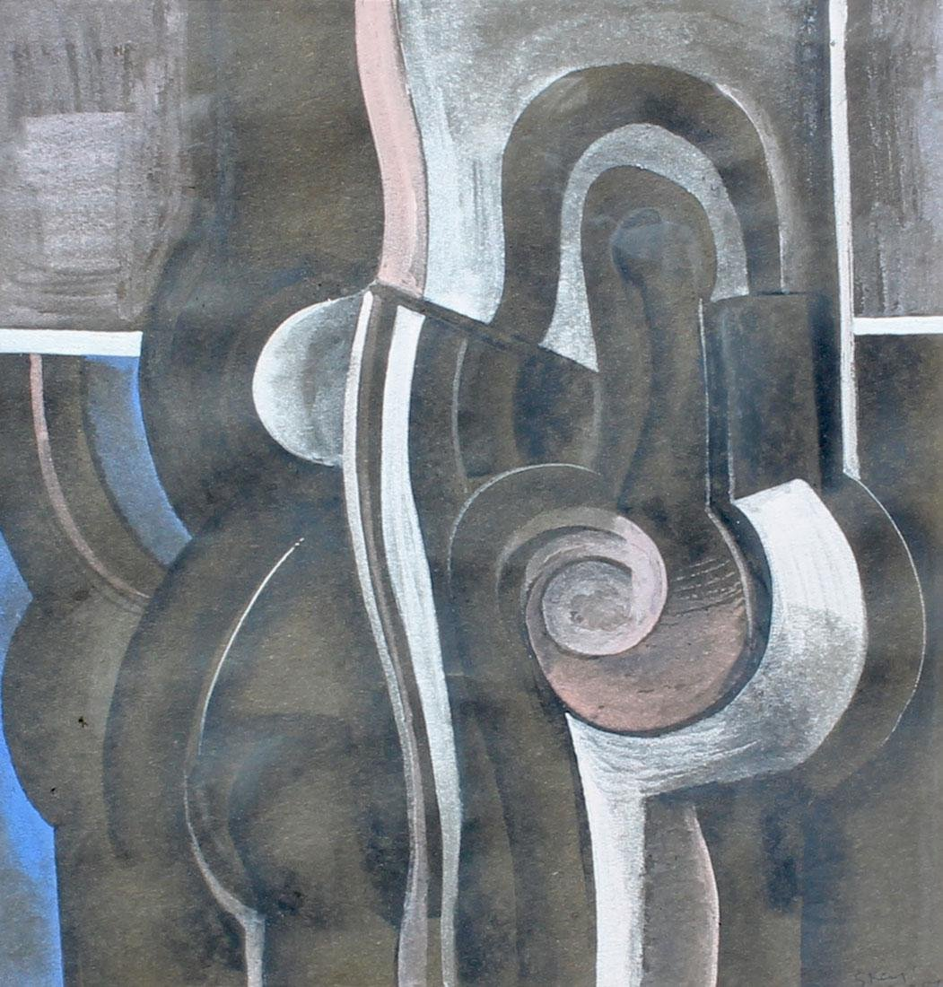 GEOFFREY KEY ABSTRACT MIXED MEDIA PAINTING