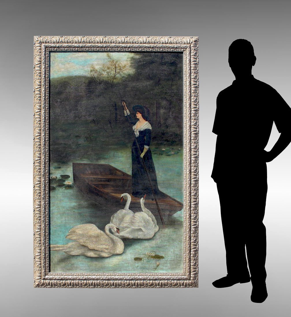 LIFE SIZE 19TH CENTURY GENRE PAINTING WITH SWANS
