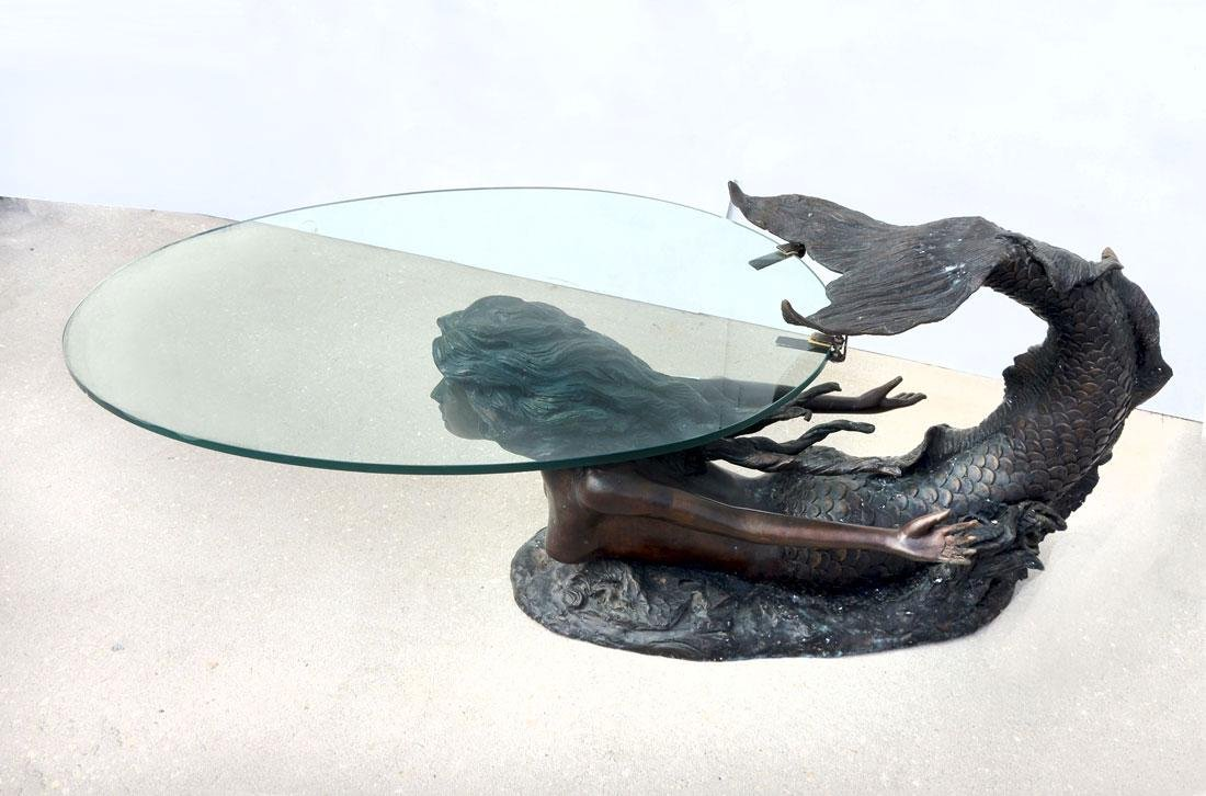 LARGE FIGURAL BRONZE MERMAID COFFEE TABLE