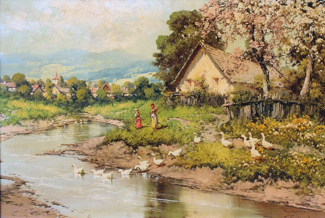 LASZLO NEOGRADY HUNGARIAN VILLAGE PAINTING WITH GEESE