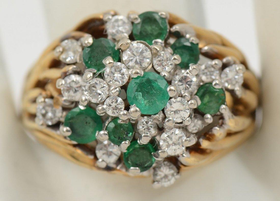 DOMED 18K DIAMOND & EMERALD RING