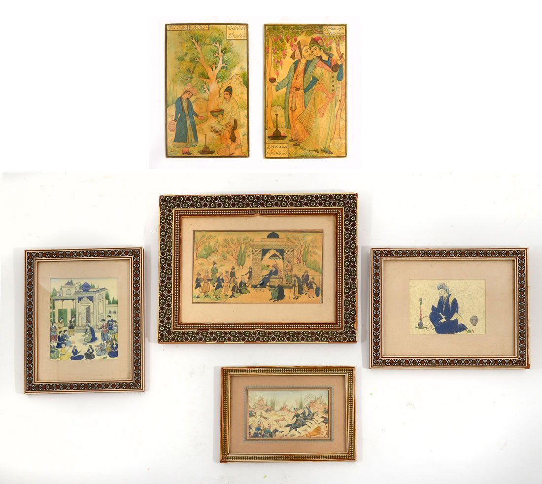 4 PIECE MINIATURE PERSIAN PAINTING LOT