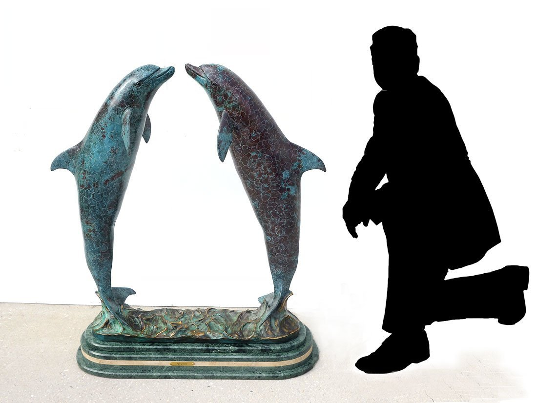 LARGE AND IMPRESSIVE PATINATED DOLPHIN BRONZE SCUL