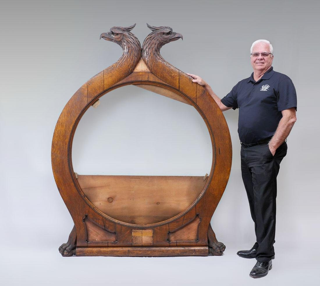 PALATIAL CONTINENTAL CARVED OAK FRAME WITH GRIFFIN