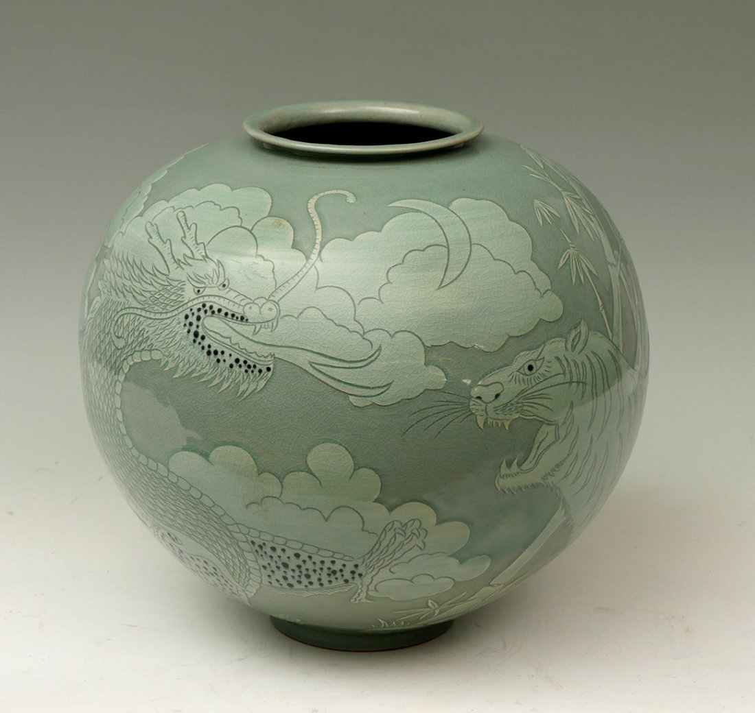 KOREAN CELADON DRAGON AND TIGER JAR