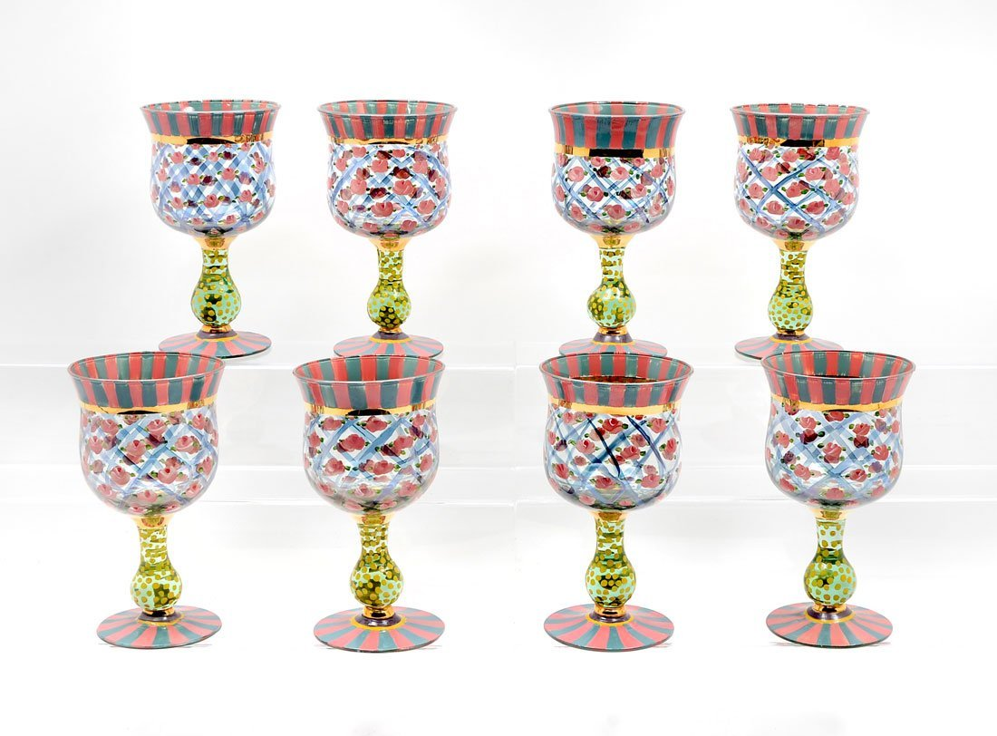 SET OF 8 MCKENZIE CHILDS HAND PAINTED GLASS GOBLETS