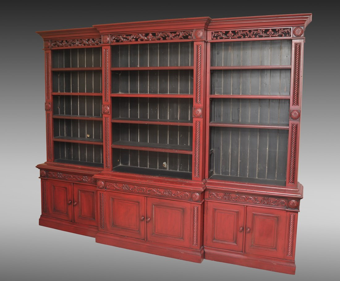 LARGE RED LACQUER BOOKCASE / CABINET