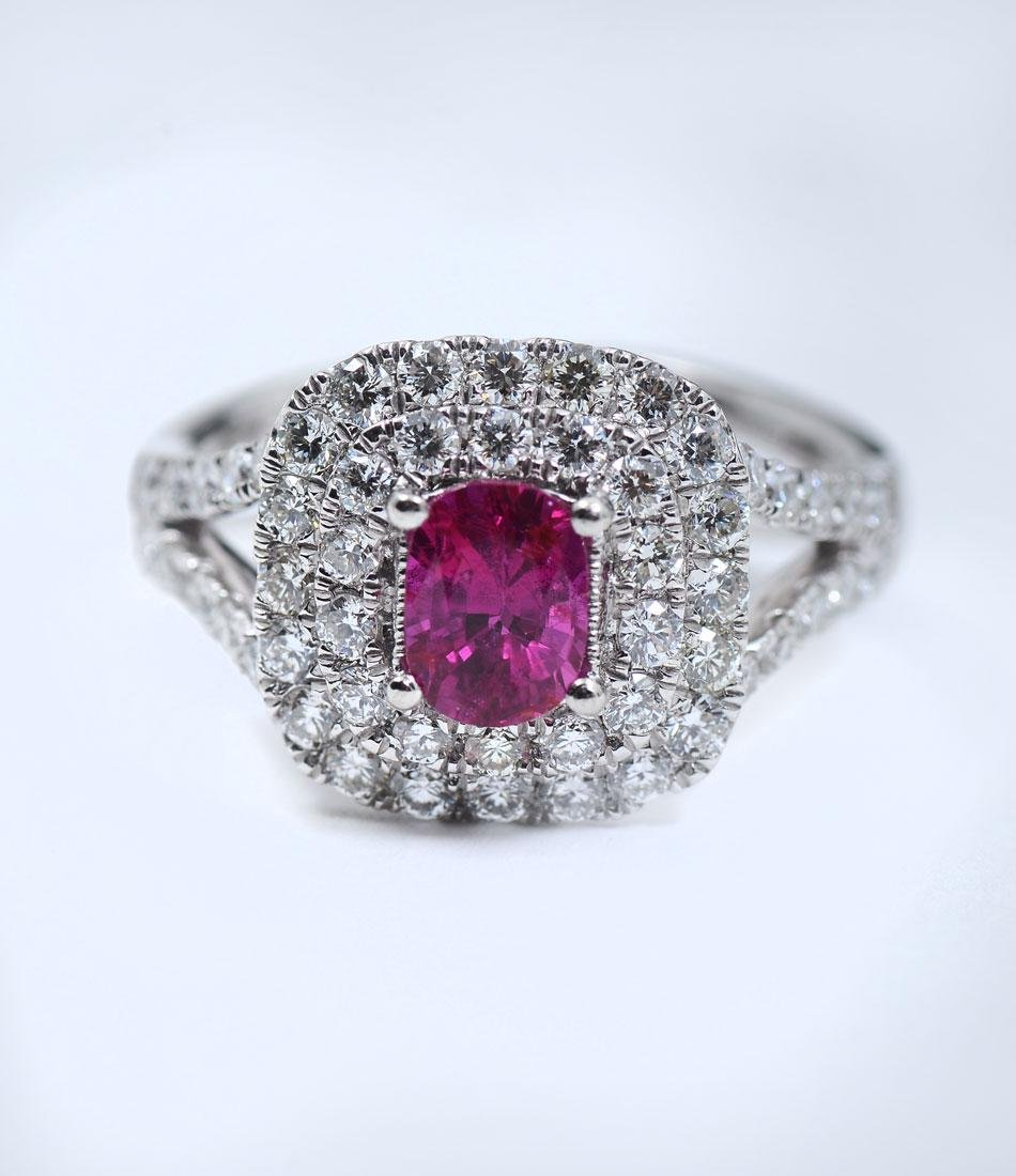 1.01CT NO HEAT RUBY WITH DIAMONDS IN PLATINUM