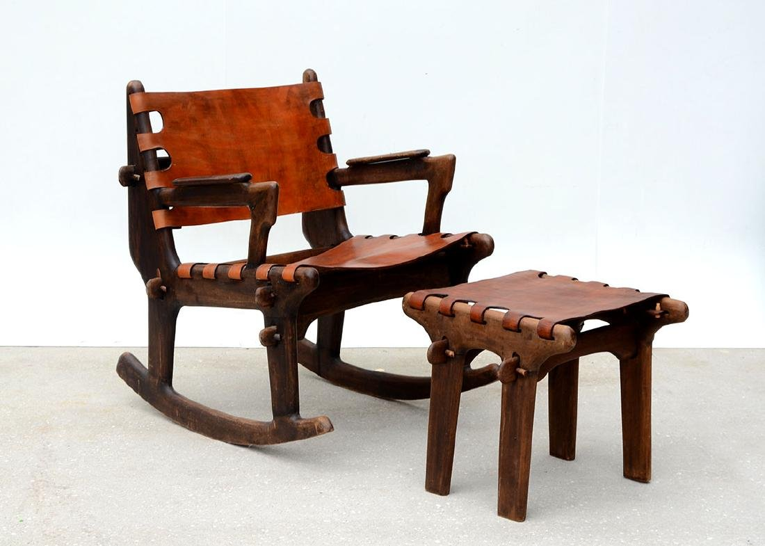 ANGEL PAZMINO ECUADORAN ROCKING CHAIR AND STOOL