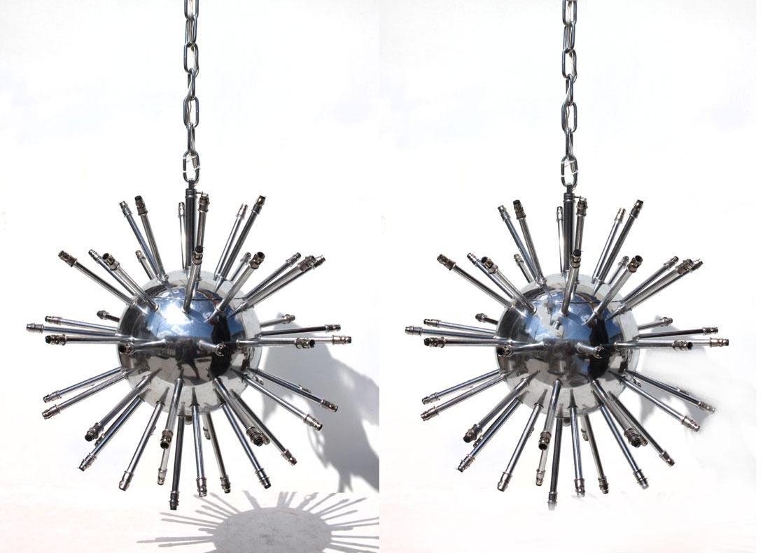 PAIR SMALL CHROME SPUTNIK STYLE PENDANT LAMPS