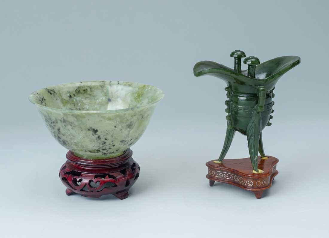 CARVED SPINACH JADE BOWL & NEPHRITE JUE CUP