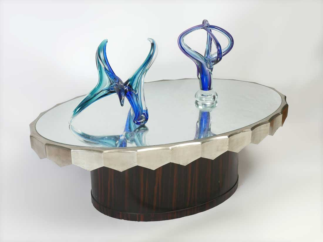 MODERNE SILVER GILDED ROSEWOOD COFFEE TABLE
