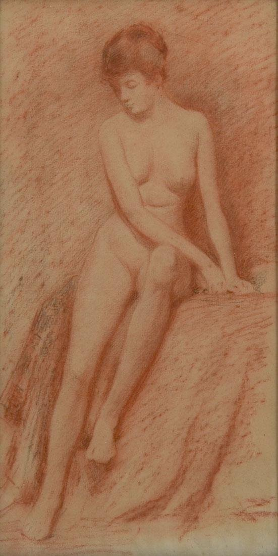 ILLEGIBLY SIGNED NUDE DRAWING
