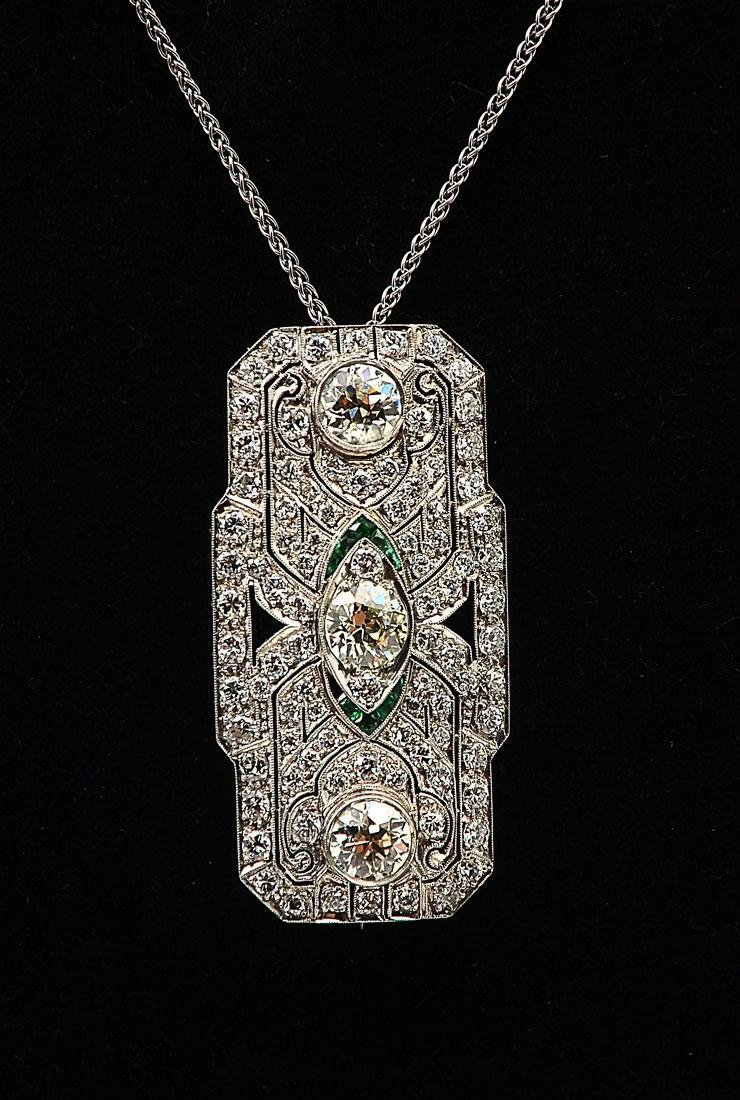 PLATINUM DIAMOND & EMERALD ART DECO BROOCH/PENDANT