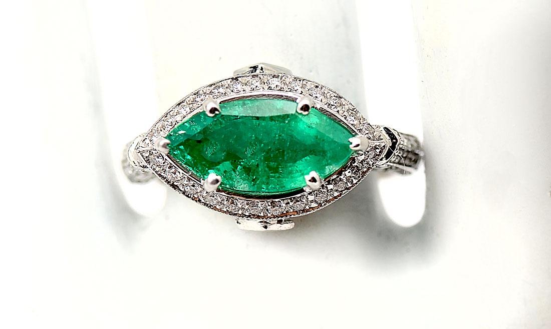 PLATINUM EMERALD & DIAMOND EDWARDIAN REVIVAL RING