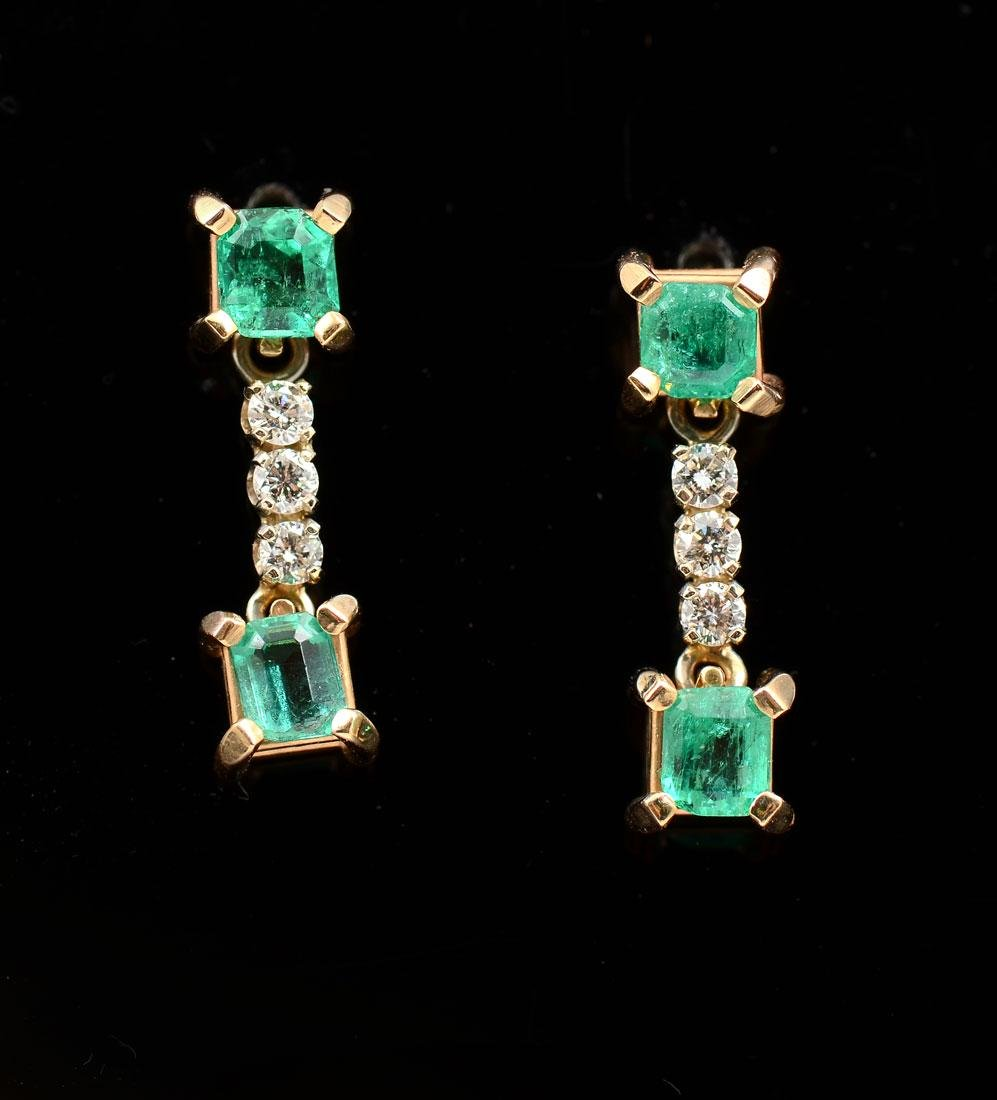 14K EMERALD & DIAMOND DANGLE EARRINGS