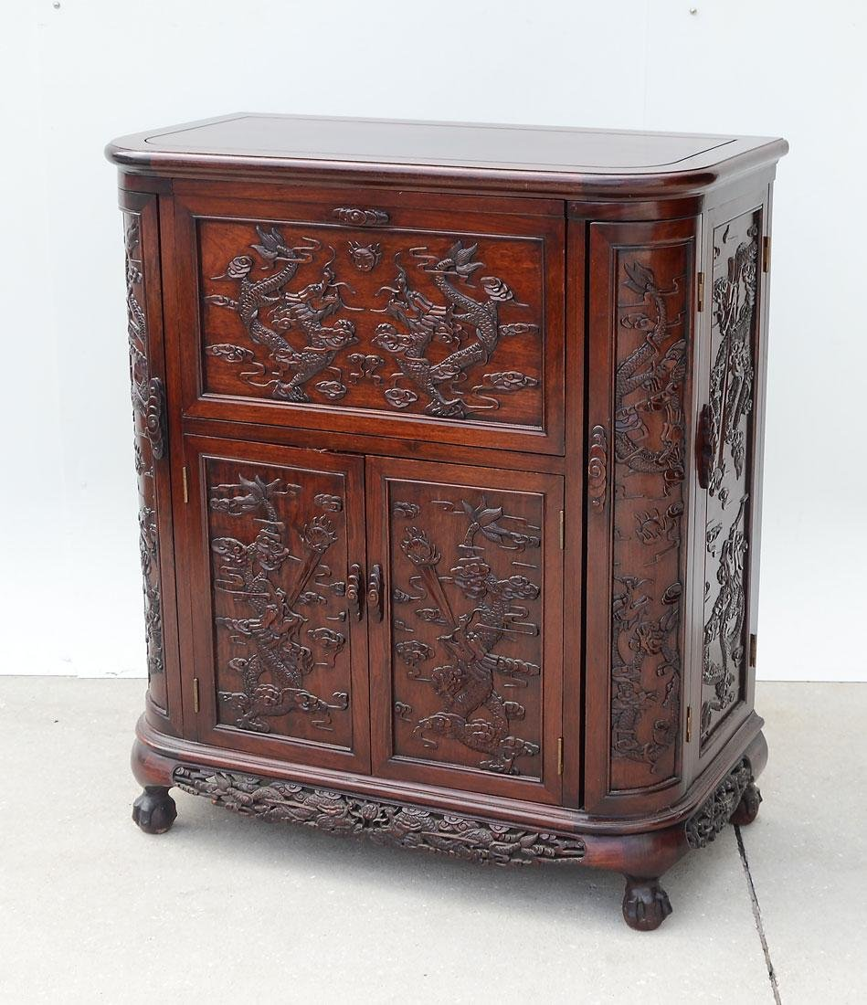 CARVED CHINESE LIFT TOP DRY BAR