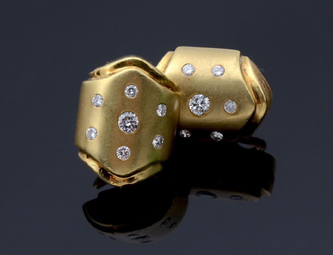 18K POLISHED & TEXTURED DIAMOND EAR CLIPS