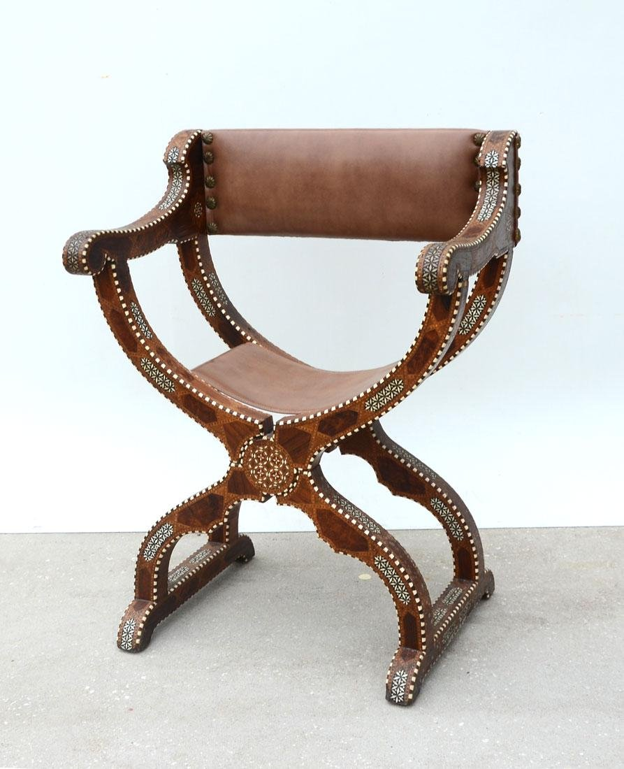 MOROCCAN STYLE INLAID SAVONAROLA CHAIR