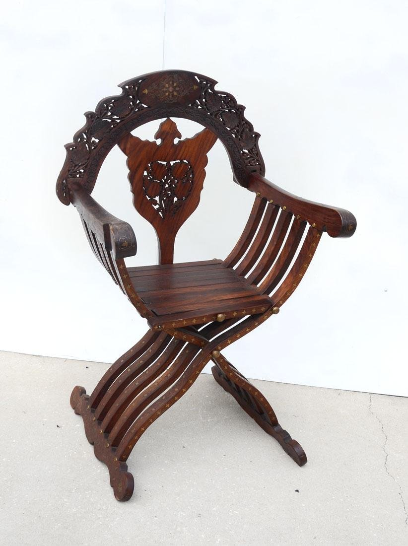 CONTINENTAL CARVED BOULLE INLAID SAVONAROLA CHAIR