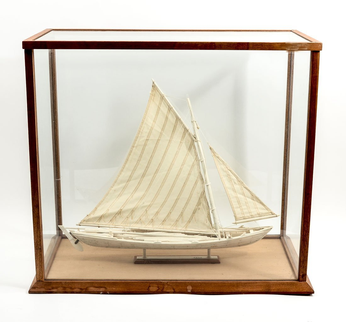A.S. LUZ AZORES CARVED WHALE BONE BOAT