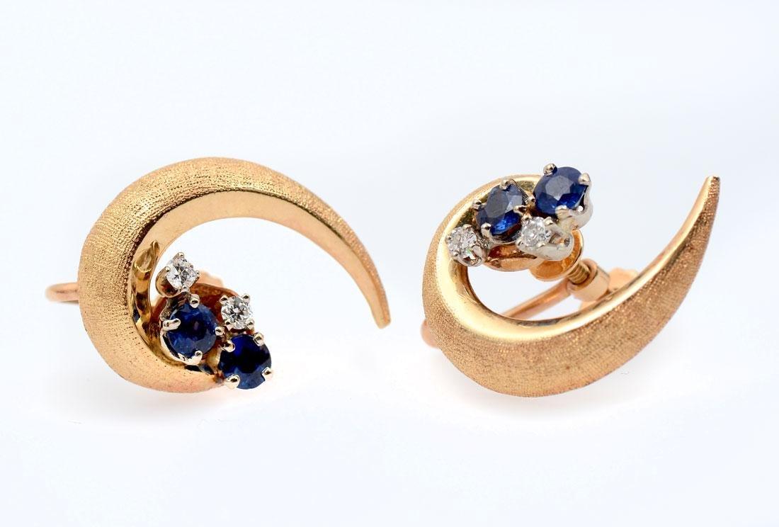 14K SAPPHIRE & DIAMOND EAR CLIPS
