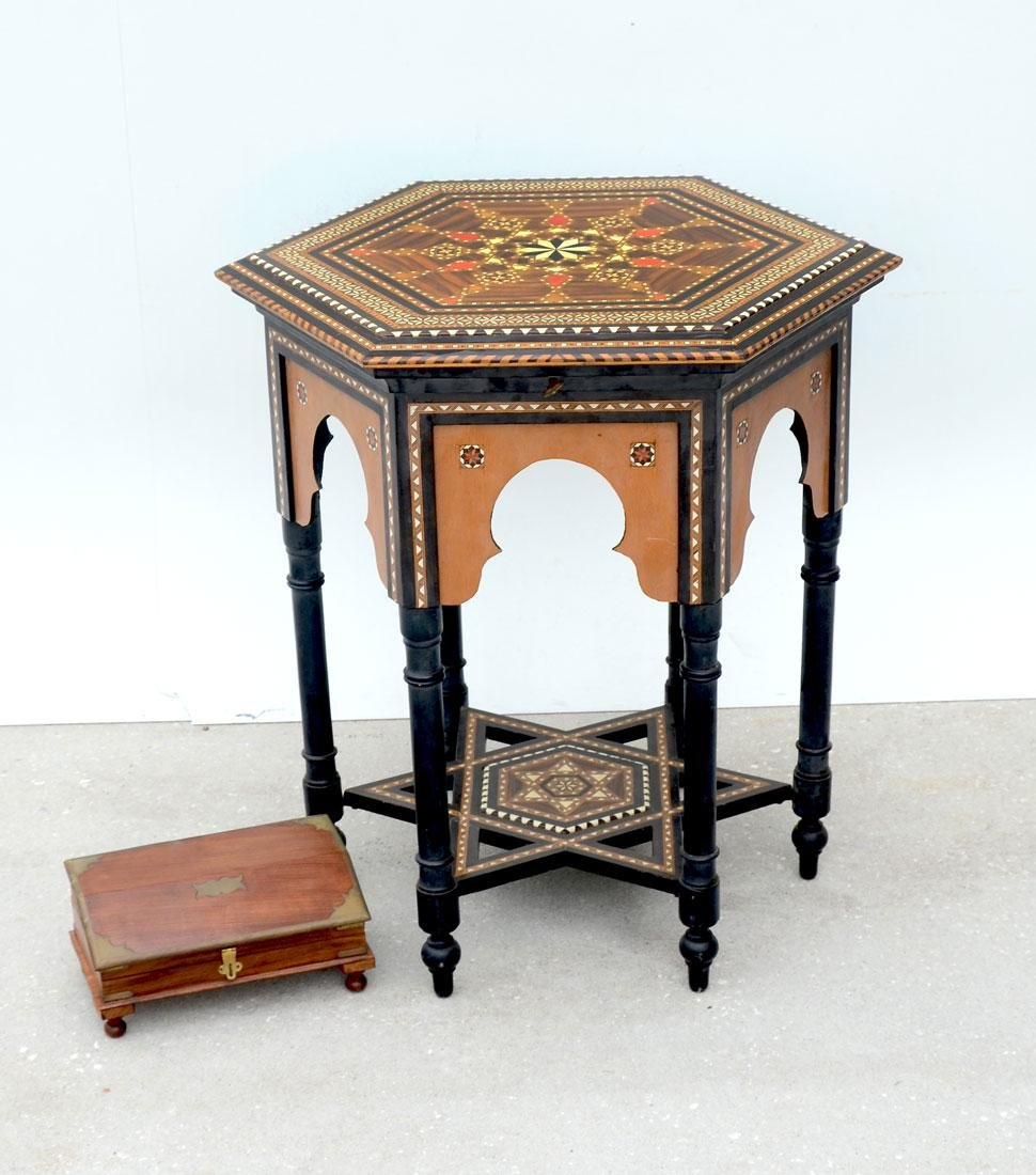 MOORISH INLAID LIFT TOP SIDE TABLE