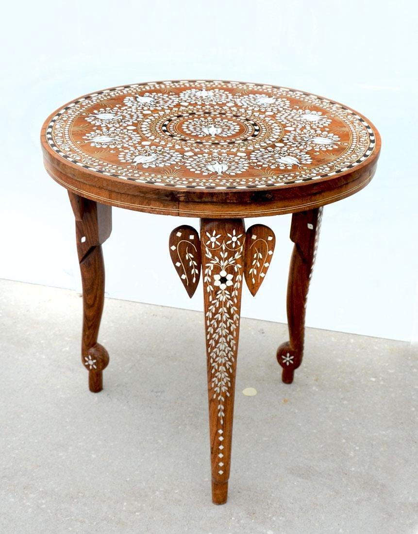 MOORISH BONE PEACOCK MARQUETRY INLAID SIDE TABLE