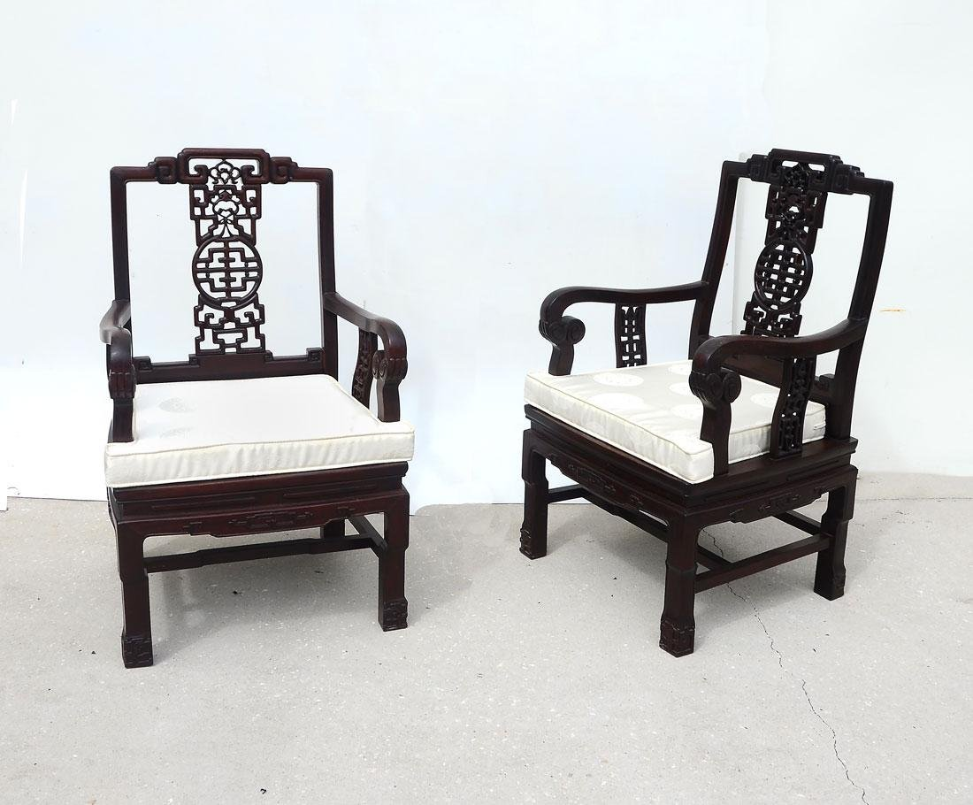 PAIR CHINESE CARVED ROSEWOOD ARM CHAIRS