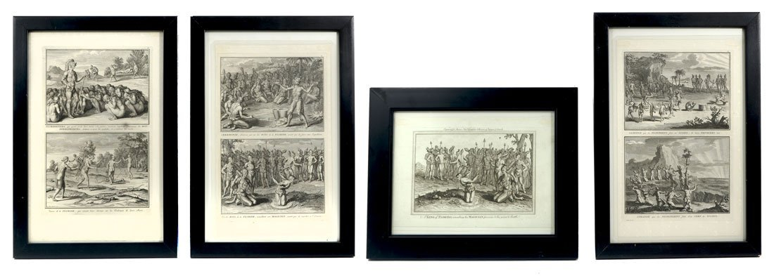 4 AFTER THEODORE DE BRY 16TH C. FLORIDA ENGRAVINGS