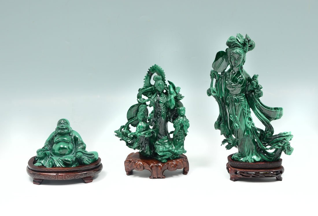 3 CHINESE CARVED MALACHITE FIGURES