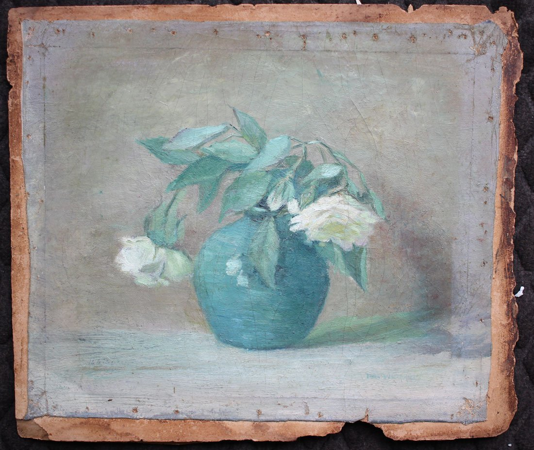 EXCEPTIONAL WHITE ROSES PAINTING ILLEGIBLY SIGNED