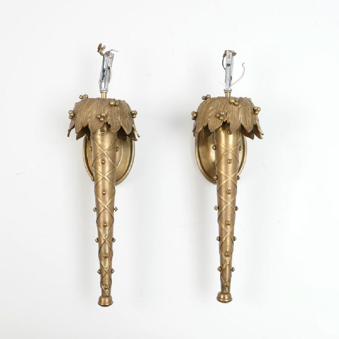 PAIR CHAPMAN BRASS WALL SCONCES