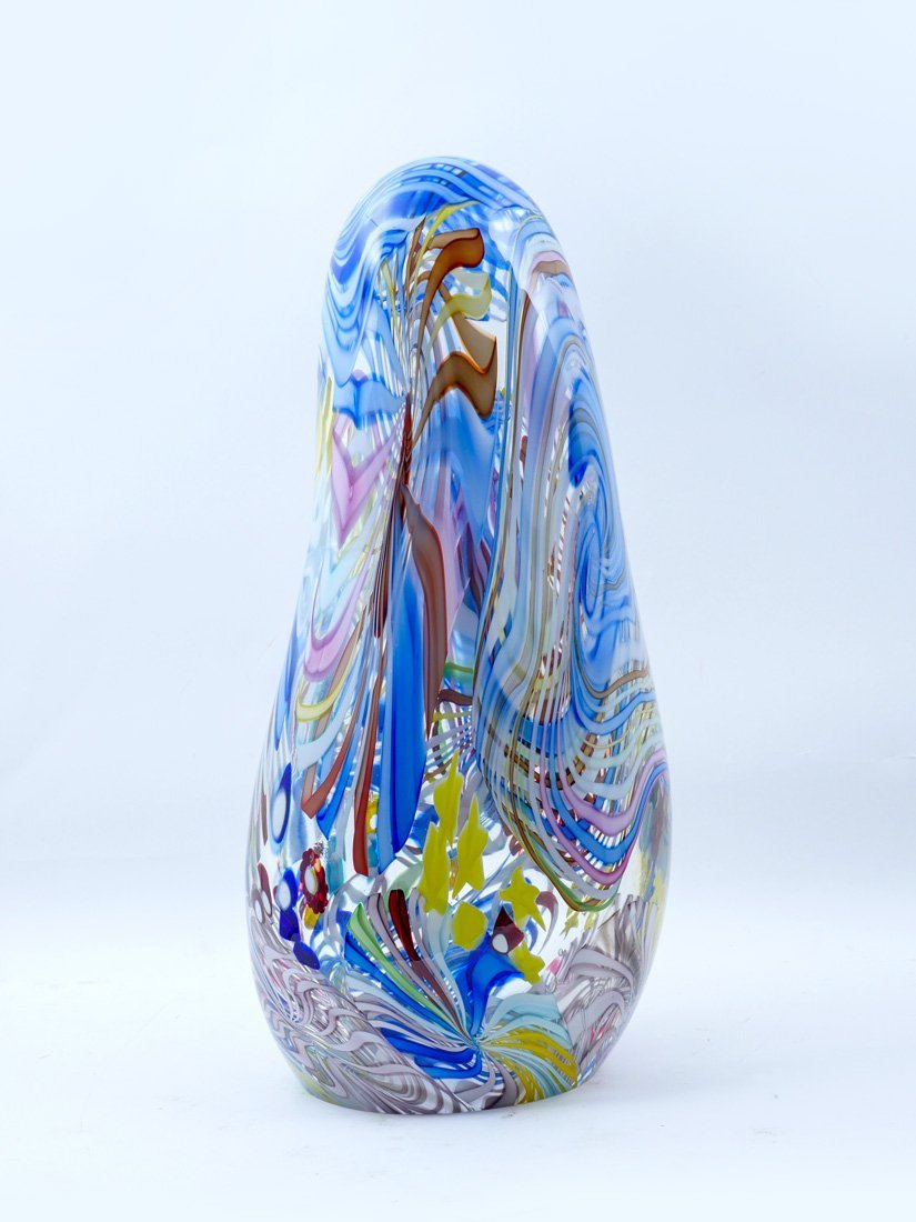 KARG SIGNED MULTI-COLORED ART GLASS SCULPTURE