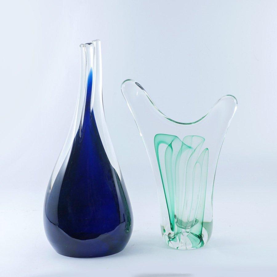 2 KARG SIGNED ART GLASS SCULPTURES