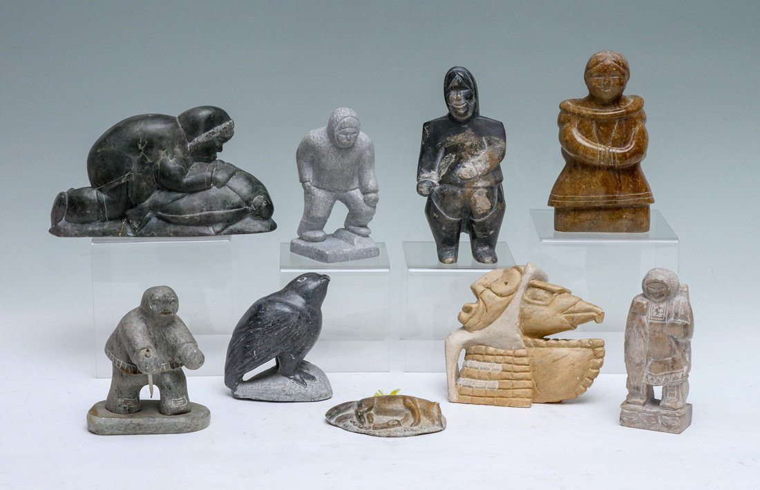 9 INUIT / CANADIAN SOAPSTONE & SERPENTINE CARVINGS
