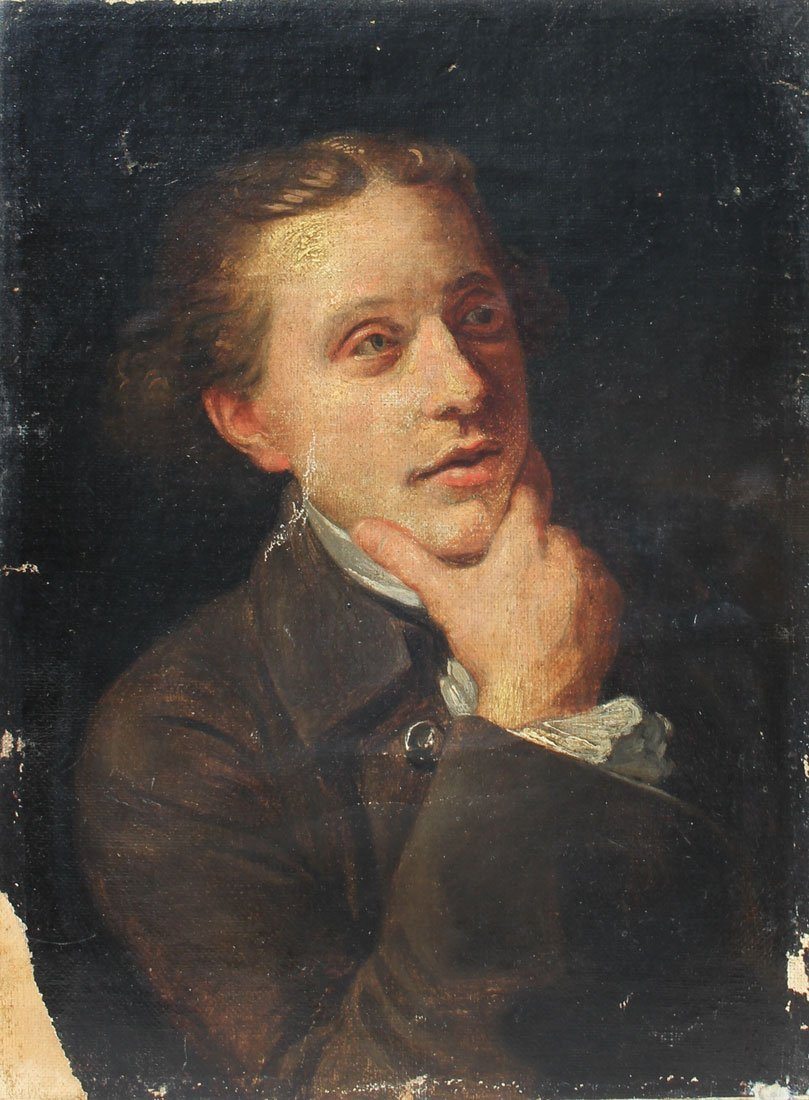 EARLY OIL ON CANVAS PORTRAIT PAINTING OF A GENTLEMAN