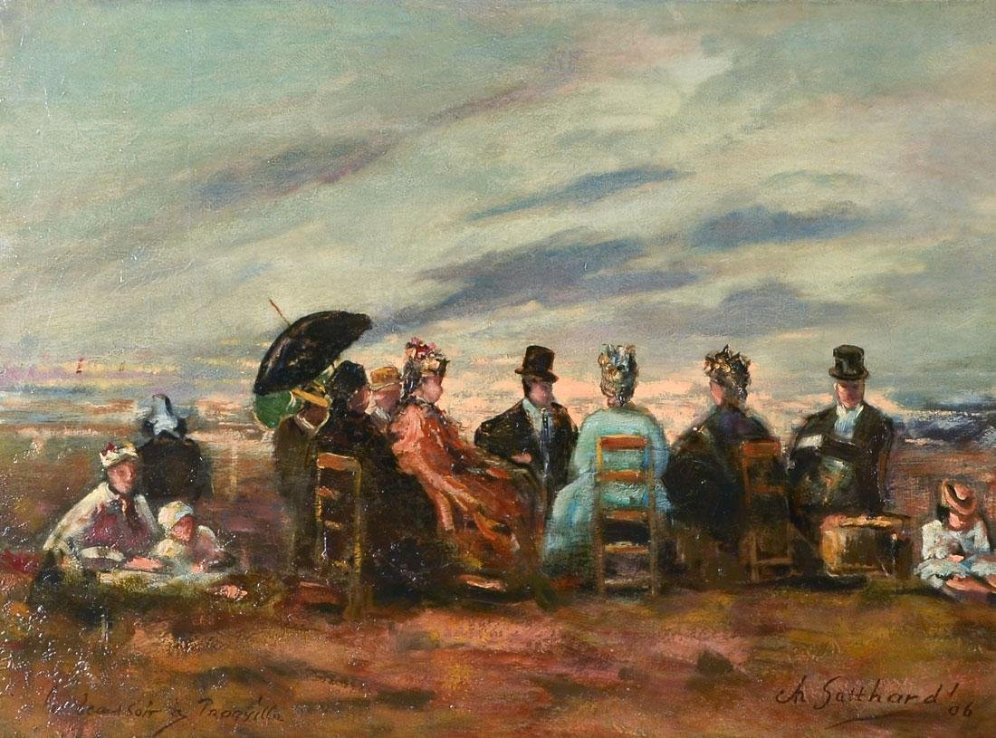 TROUVILLE BEACH SCENE PAINTING AFTER BOUDIN