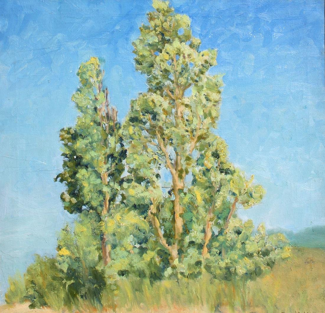 MARGARET NIBOR POPLARS ABOVE THE BEACH PAINTING
