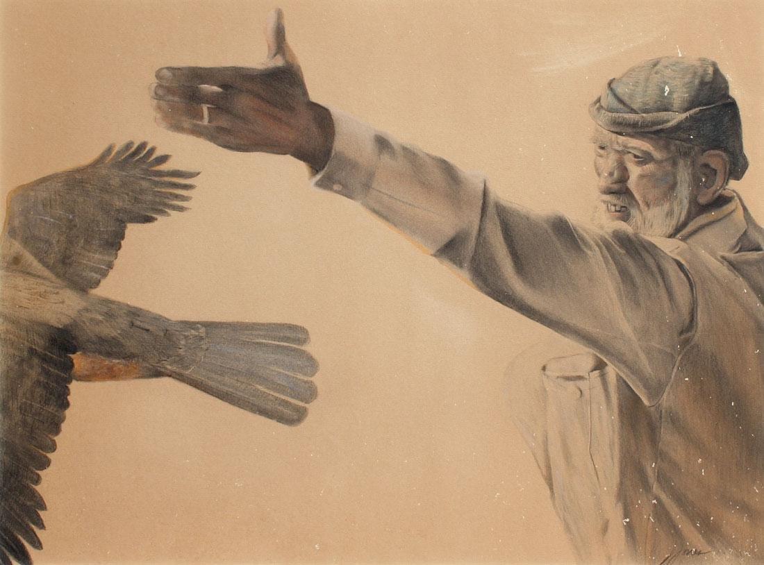 MONGOLIAN FALCONER DRAWING SIGNED JONES