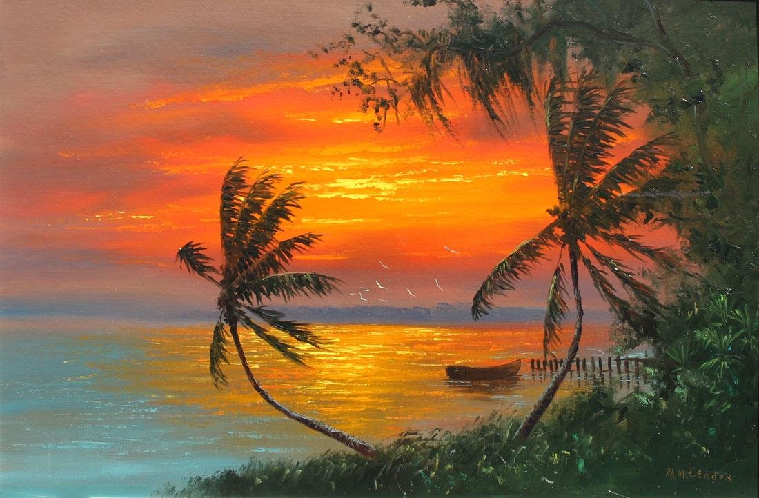 ROY MCCLENDON FLORIDA HIGHWAYMEN FIRE SKY PAINTING