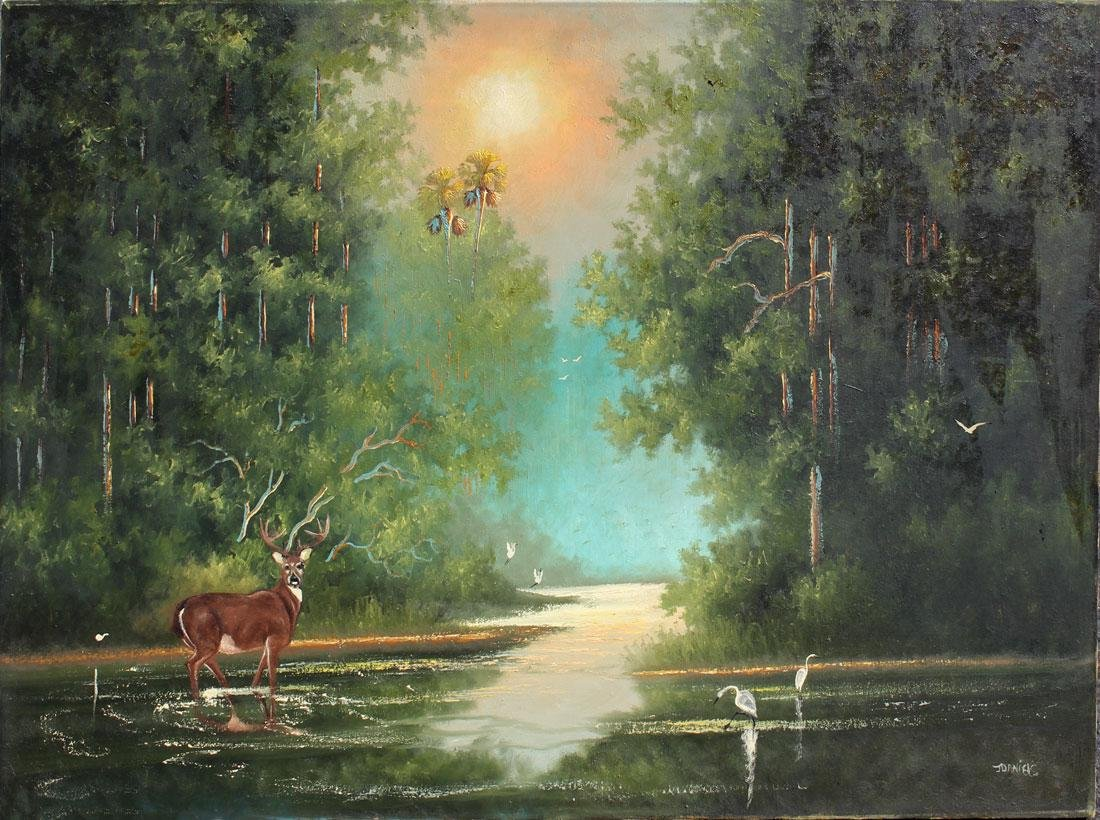 JOHNNY DANIELS FLORIDA HIGHWAYMEN PAINTING W/DEER