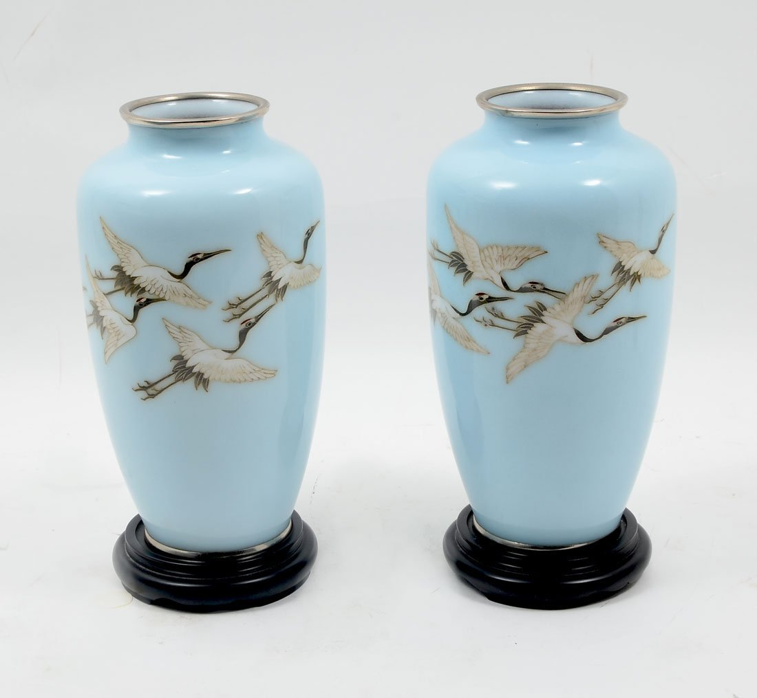 PAIR OF FLYING CRANE JAPANESE CLOISONNE VASES