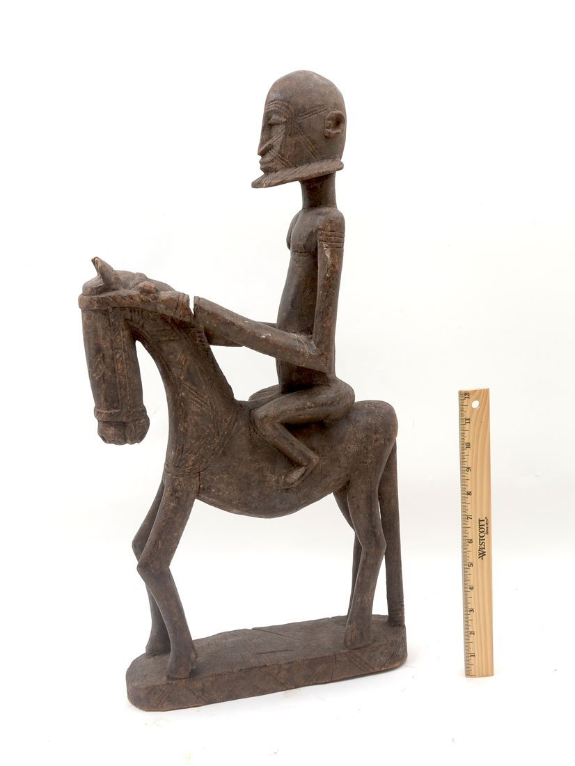WEST AFRICAN DOGON CARVED FIGURE OF MAN ON HORSE